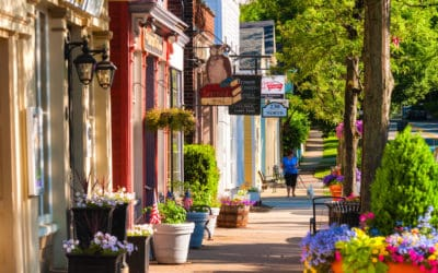 Business storefronts in quaint town