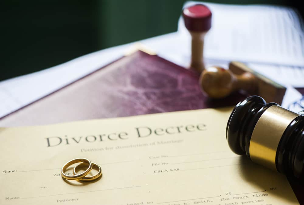 Divorce decree on desk