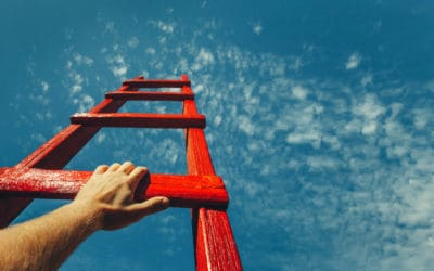 Red ladder pointing to the sky