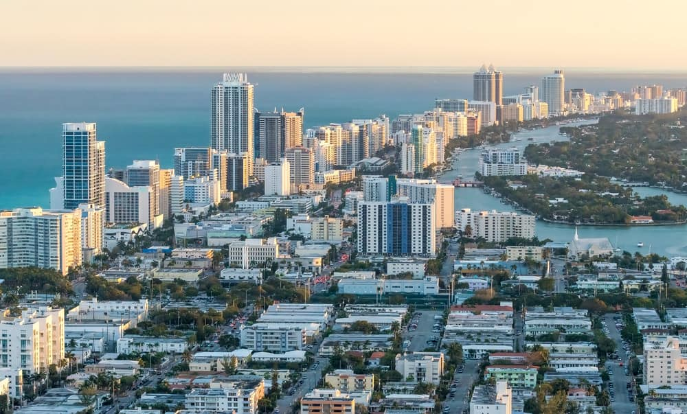 Aerial view of Miami Florida