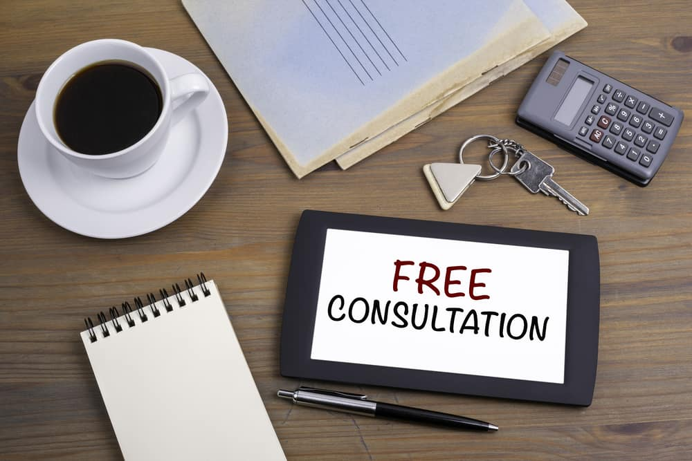 Free consultation sign for injury lawyer