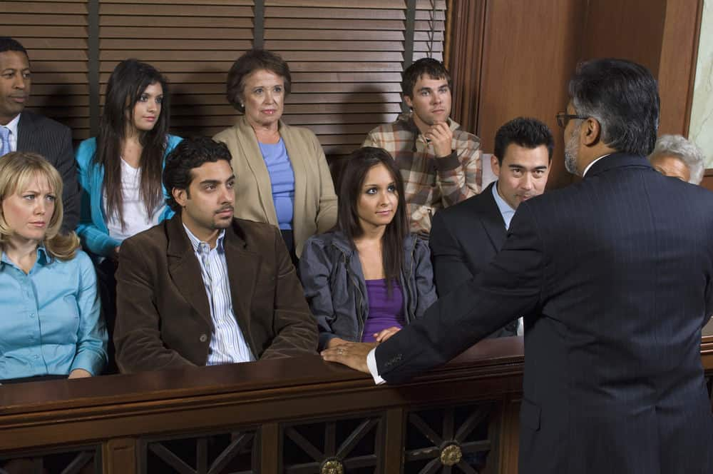 Lawyer talking to a jury in personal injury trial