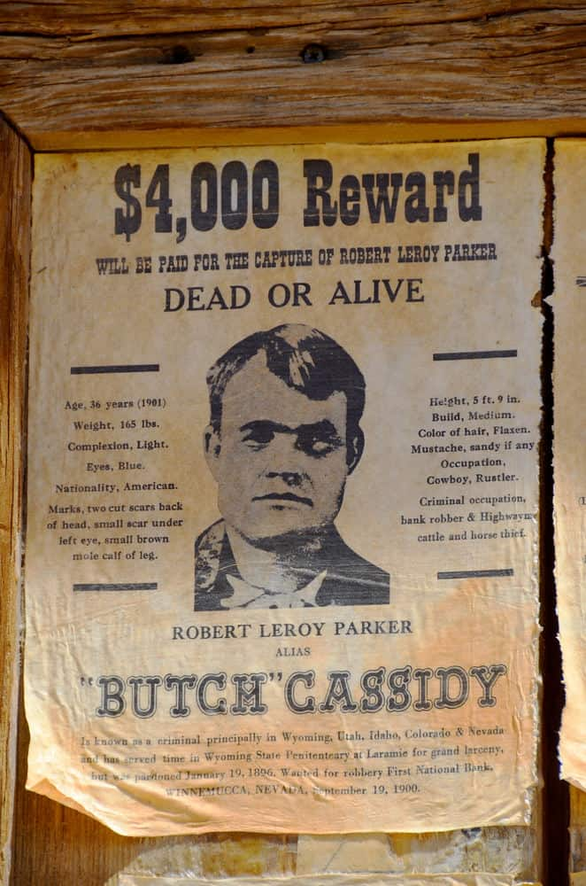 Butch Cassidy Wanted poster with reward dec4
