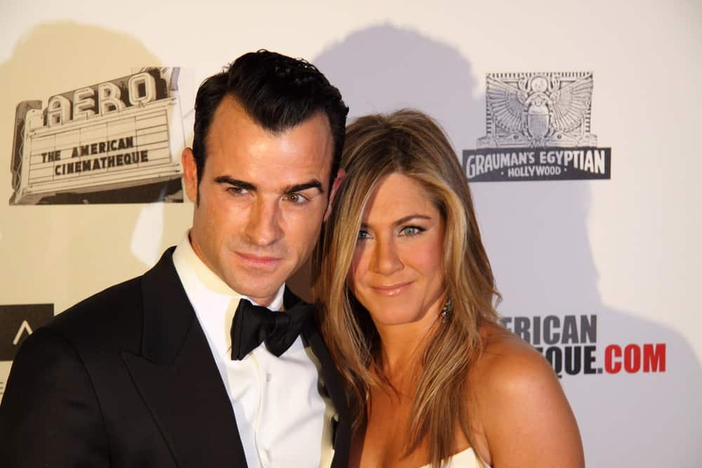 Jennifer Aniston and Justin Theroux arrive at the American Cinematheque Awards tribute to Ben Stiller on November 15, 2012 in Beverly Hills, Ca