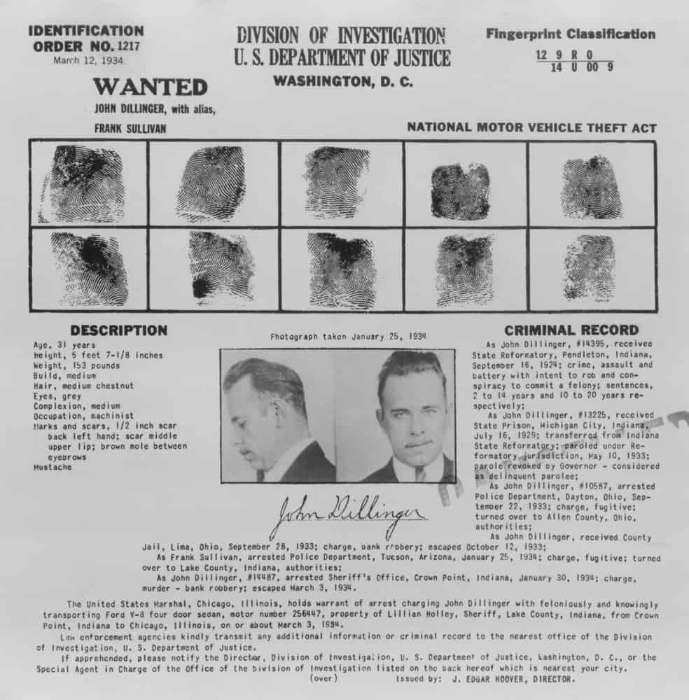 John Dillinger Wanted poster with fingerprints