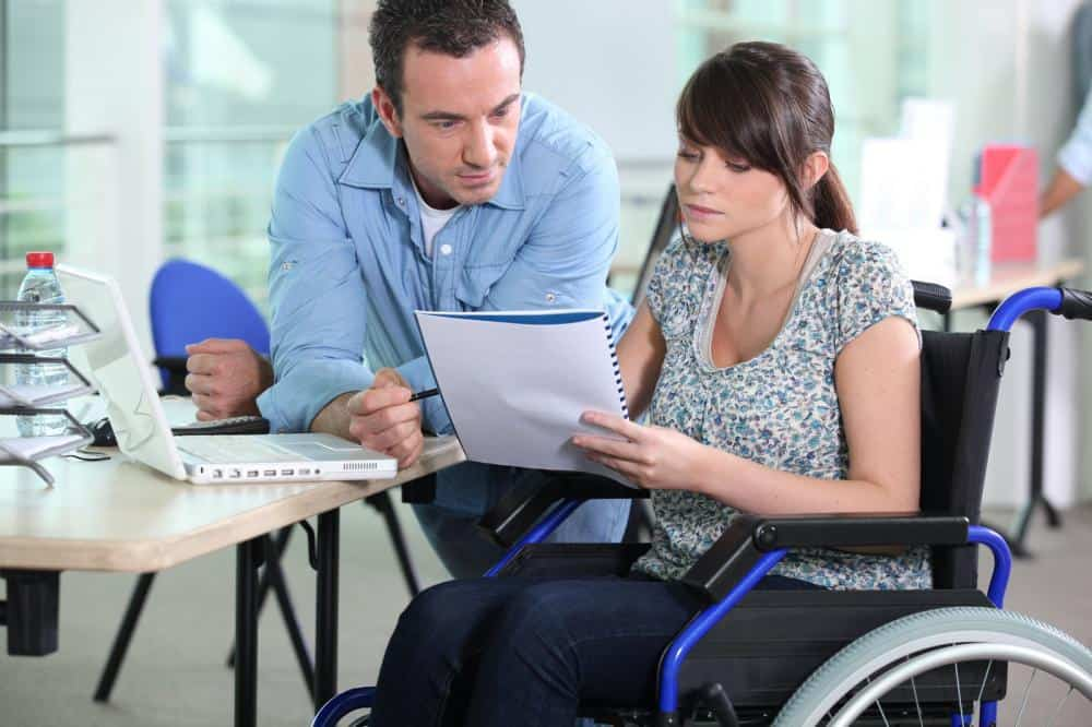 fFemale worker having individual disability insurance