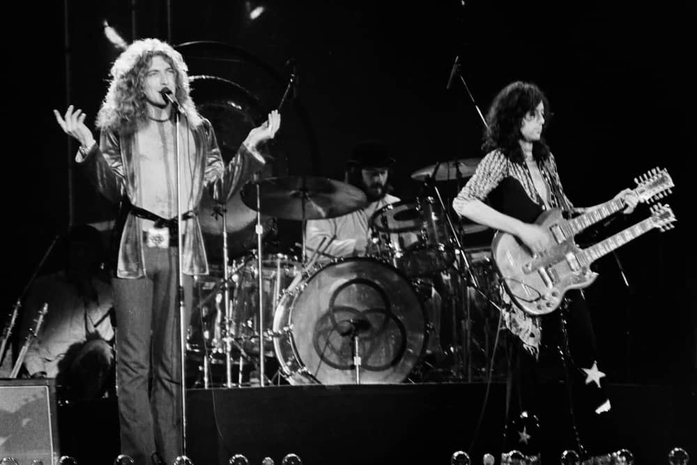 Robert Plant and Jimmy Page of legendary rock band Led Zeppelin perform at Nassau Coliseum on their 1975 North American tour