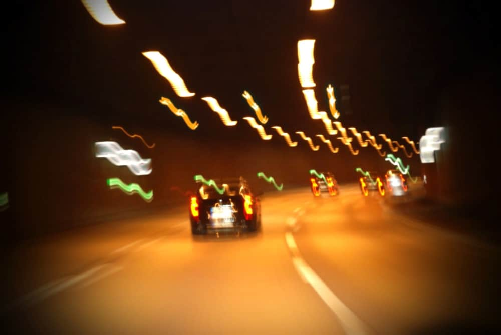 Blurry vision while driving concept