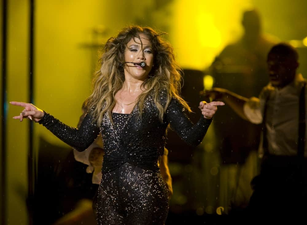 Jennifer Lopez performing at a concert.