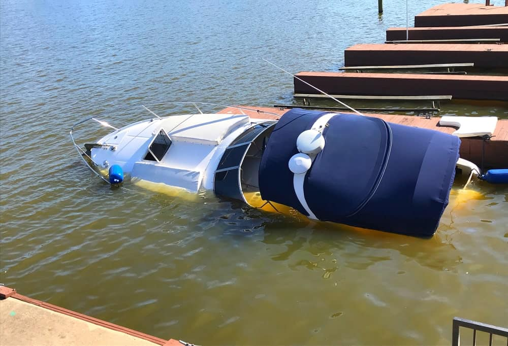 A boat sinking in the water.