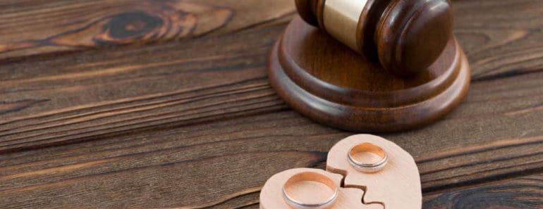 Divorce judge gavel on table