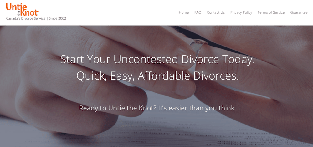 Untie the Knot canadian online divorce service