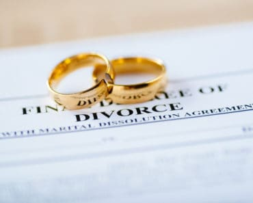 Wedding rings and divorce document