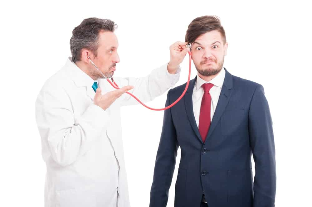 Doctor checking mental health of person
