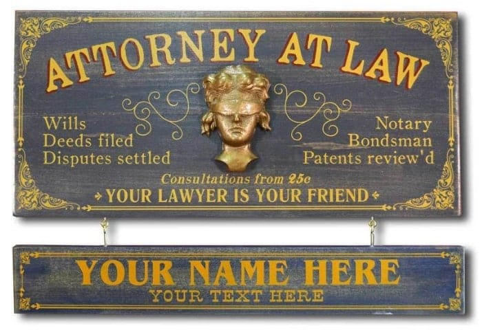 Vintage Attorney Plaque with Custom Name Plank