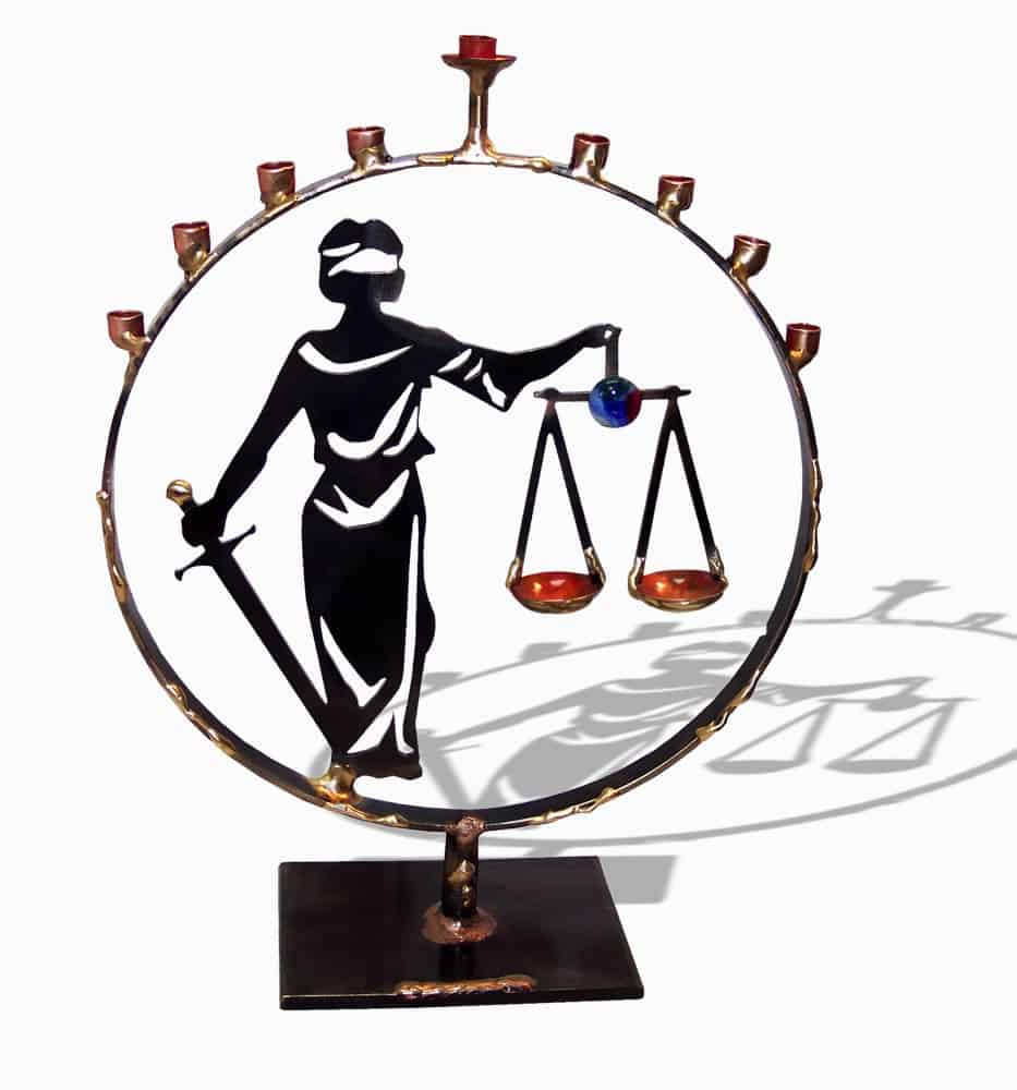 Lady Justice Metal Lawyers Menorah by designer Gary Rosenthal