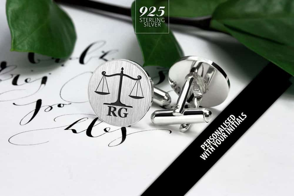 Scales of Justice personalized cufflinks